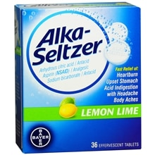 Alka-Seltzer Antacid/Analgesic Effervescent Tablets Lemon Lime