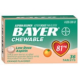 Bayer Low Dose Aspirin Pain Reliever, 81mg, Chewable Tablets Orange