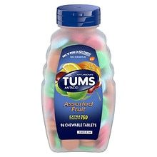 Tums E-X Extra Strength 750 Antacid/Calcium Supplement Chewable Tablets Assorted