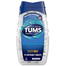 Tums Ultra Ultra Strength 1000 Antacid/Calcium Supplement Chewable Tablets Peppermint