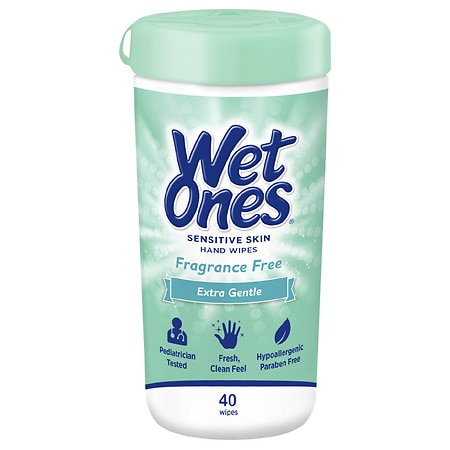 Wet Ones Sensitive Skin Hand Wipes Fragrance & Alcohol Free