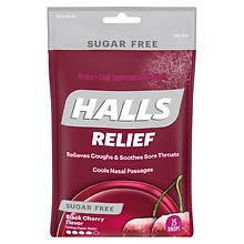 Halls Sugar Free Cough Suppressant Drops Black Cherry