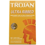 Trojan Ultra Ribbed Lubricated Premium Latex Condoms