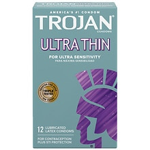 Trojan Ultra Thin For Ultra Sensitivity Lubricated Premium Latex Condoms