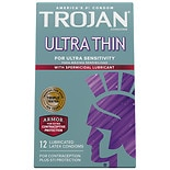 Trojan Ultra Thin For Ultra Sensitivity Spermicidal Lubricated Premium Latex Condoms