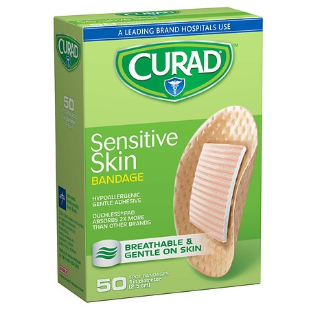 Curad Sensitive Skin Gentle Fabric Bandage Spots 1 inch diameter (25 mm)