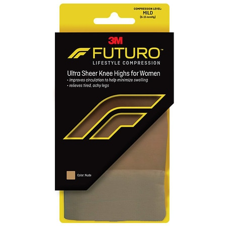 FUTURO Energizing Ultra Sheer Knee Highs for Women, Mild Medium Nude