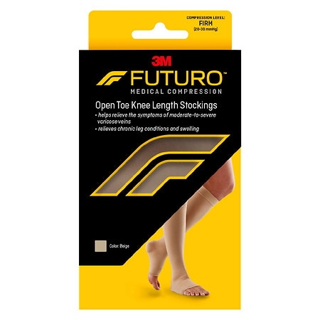 FUTURO Knee-High, Firm Support Medical Hosiery, Open Toe Large Beige