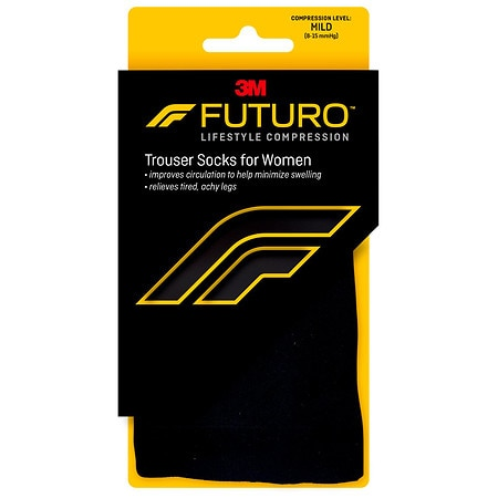 FUTURO Energizing Trouser Socks for Women, Mild Large Black