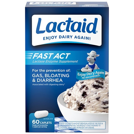 Lactaid Fast Act Lactase Enzyme Supplement, Caplets Vanilla