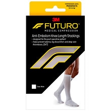 FUTURO Anti-Embolism Moderate Knee Length Closed Toe Stockings White