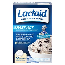 Lactaid Fast Act Lactase Enzyme Supplement, Chewable Tablet, Vanilla Twist Vanilla
