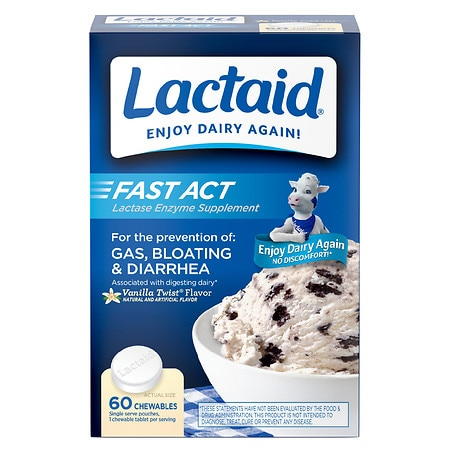 Lactaid Fast Act Lactase Enzyme Supplement, Chewable Tablet, Vanilla