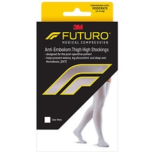 Anti-Embolism Moderate Thigh Length Closed Toe Stockings WhiteWhite, White