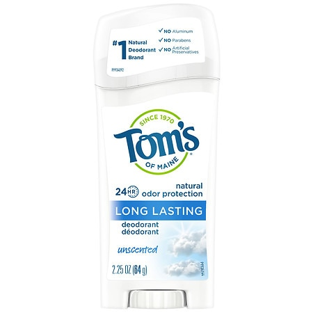 Tom's of Maine Long Lasting Natural Aluminum Free Deodorant Stick Unscented