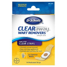 Clear Away Wart Remover One Step Clear Strips, Invisible Strips
