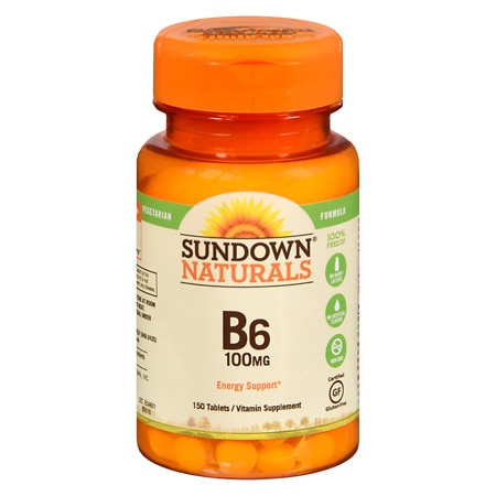Sundown Naturals Vitamin B6, 100mg, Tablets
