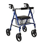 Medline 4-Wheel Rollator Walker Blue