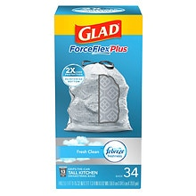 Glad Force Flex Forceflex Tall Kitchen Trash-Garbage Bags Odor Shield Drawstring Fresh,13 Gallon