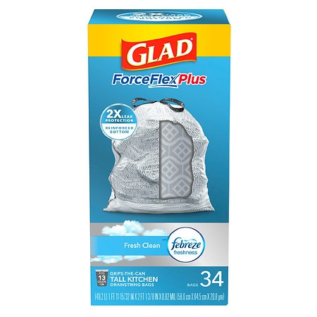 Glad ForceFlex OdorShield Tall Kitchen Drawstring Trash Bags Fresh Clean,13 Gallon