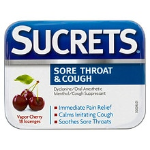 Sucrets Sore Throat & Cough Lozenges Cherry