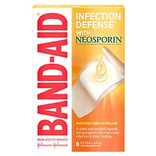 Band-Aid Plus Antibiotic Adhesive Bandages Extra Large