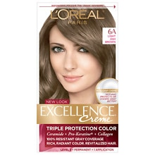L'Oreal Paris Excellence Triple Protection Permanent Hair Color Creme Light Ash Brown 6A