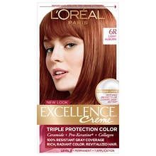 L'Oreal Paris Excellence Triple Protection Permanent Hair Color Creme Light Auburn 6R
