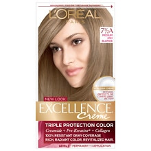 Triple Protection Permanent Hair Color Creme, Medium Ash Blonde 7 1/2 A