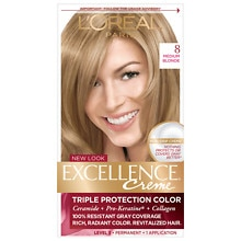 L'Oreal Paris Excellence Triple Protection Permanent Hair Color Creme Medium Blonde 8