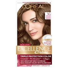 L'Oreal Paris Excellence Triple Protection Permanent Hair Color Creme Medium Golden Brown 5G