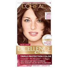 L'Oreal Paris Excellence Triple Protection Permanent Hair Color Creme Medium Reddish Brown 5RB