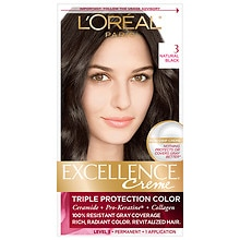 L'Oreal Paris Excellence Triple Protection Permanent Hair Color Creme Natural Black 3