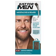 Just For Men Mustache & Beard Brush-In Color Gel Medium Brown M-35