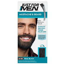 Mustache & Beard Brush-in Color Gel, Real Black M-55