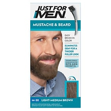 Just For Men Mustache & Beard Brush-In Color Gel Light-Medium Brown M-30