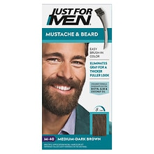 Just For Men Mustache & Beard Brush-in Hair Color Gel Medium Dark Brown M-40