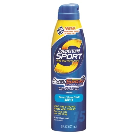 Coppertone Sport High Performance AccuSpray Sunscreen, SPF 15