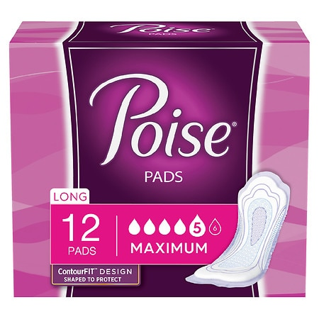 Poise Incontinence Pads, Maximum Absorbency Long Length