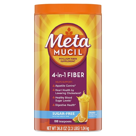 Metamucil Smooth Sugar Free Powder, 180 Teaspoons Orange