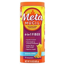 Metamucil Sugar Free MultiHealth Fiber Psyllium Fiber Powder Orange Smooth
