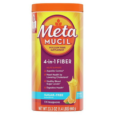 Metamucil Smooth Sugar Free Powder, 114 Teaspoons Orange