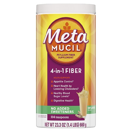 Metamucil MultiHealth Fiber Powder, No Added Sweeteners Original Smooth