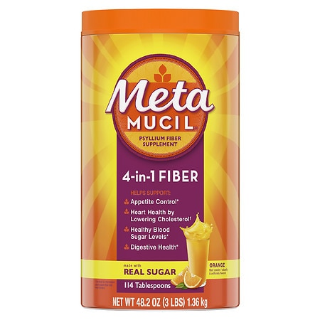 Metamucil MultiHealth Fiber Texture Powder Supplement Orange Smooth