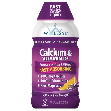 Wellesse Calcium & Vitamin D3 Liquid Dietary Supplement Citrus