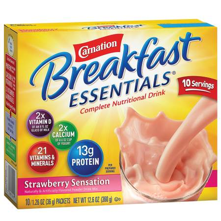 Carnation Breakfast Essentials Complete Nutritional Drink, Packets Strawberry Sensation, 10 pk