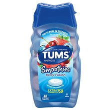 Tums Smooth Dissolve Smoothies Extra Strength 750 Antacid/Calcium Supplement Chewable Tablets Berry Fusion