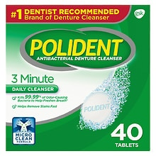 Polident Antibacterial Denture Cleanser Tablets Triple MInt Freshness
