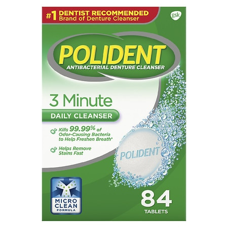 Polident 3 Minute Antibacterial Denture Cleanser Tablets Triple Mint Freshness