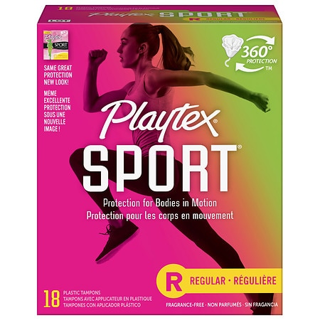 Playtex Sport Tampons, Unscented Regular, 18 ea